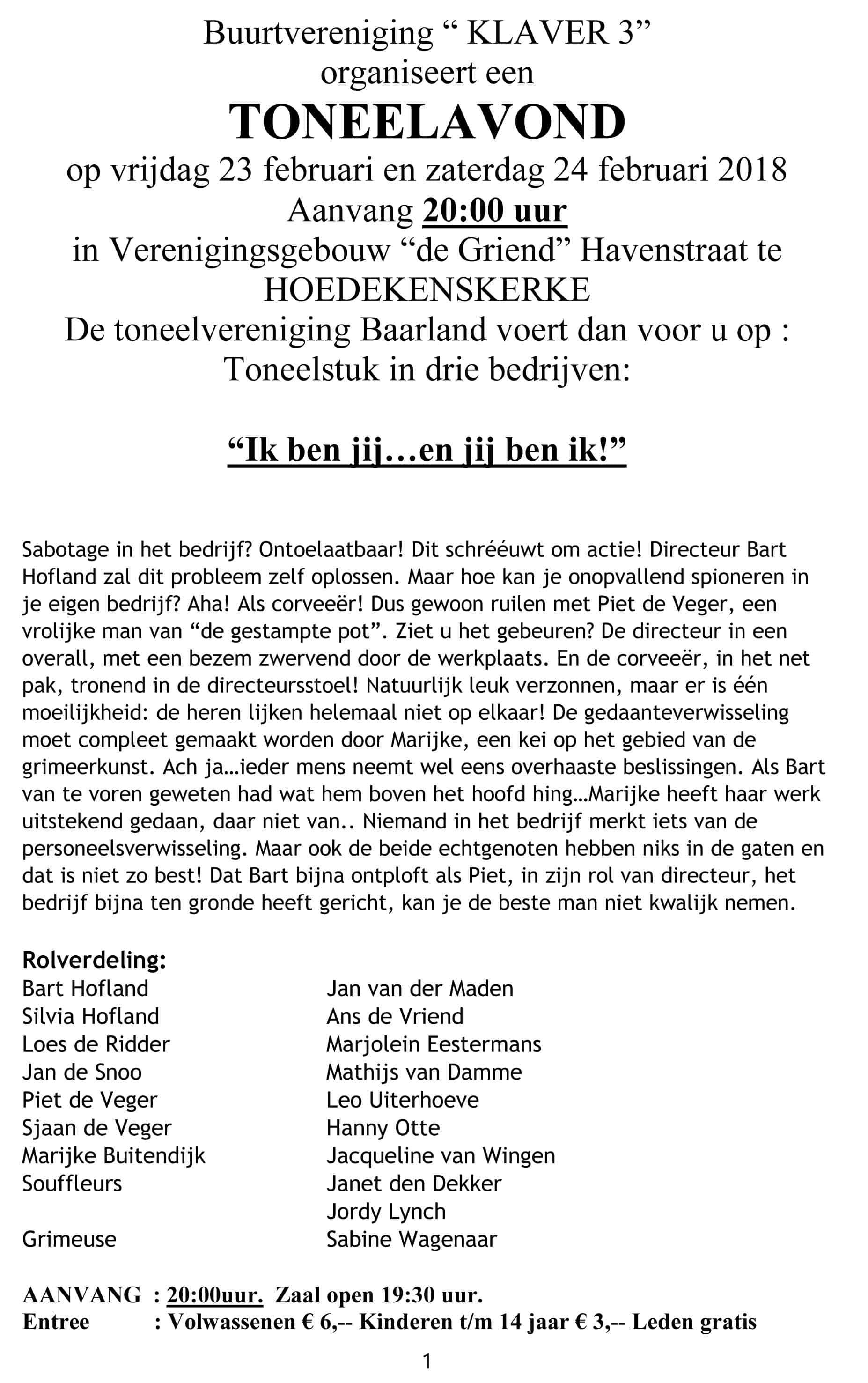 "Toneelavond @ Dorpshuis ""De Griend"" | Hoedekenskerke | Zeeland | Nederland"